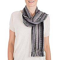 Cotton scarf, 'Atitlan Nights' - Handcrafted Cotton Blend Scarf