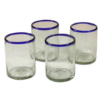 Blown glass juice glasses, 'Blues' (set of 4) - Handblown Recycled Glass Drinkware (Set of 4)