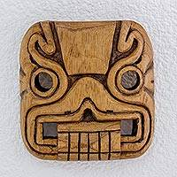 Cedar wood mask, 'Magical Transformation' - Hand Carved Cedar Wood Mask