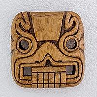 Cedar wood mask, 'Magical Transformation' - Hand Carved Cedar Wood Mask