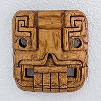 Cedar wood mask, 'Maya Duality' - Fair Trade Archaeological Wood Mask