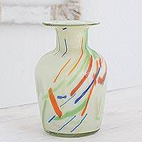 Blown glass vase, 'Carnival' - Unique Central American Handblown Recycled Glass Vase