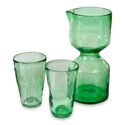Blown glass carafe and glasses (Set for 2)