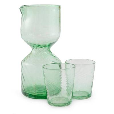 Handblown Green Recycled Glass Pitcher Set for 2