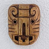 Cedar wood mask, 'Jaguar Time Master' - Cedar wood mask