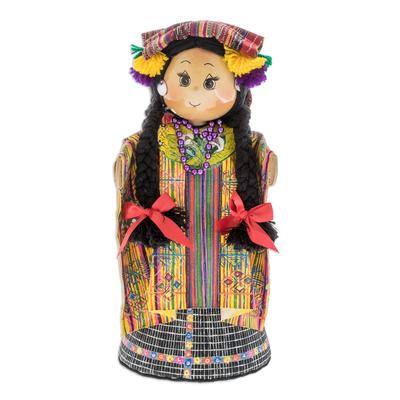 Pinewood and cotton display doll, 'San Juan Sacatepequez' - Pinewood and cotton display doll