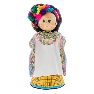 Pinewood and cotton display doll, 'San Cristobal Totonicapan' - Pinewood and cotton display doll