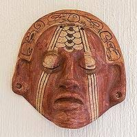 Ceramic mask, 'Maya Nobleman' - Hand Painted Ceramic Wall Mask