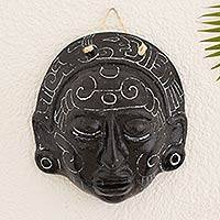 Ceramic mask, 'Maya Night Voyage' - Handcrafted Archaeological Replica Mask from El Salvador