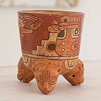 Ceramic vessel, 'Maya Divinity' - Archaeological Ceramic Bowl Centerpiece from Central America