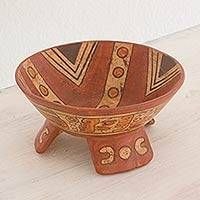 Ceramic centerpiece, 'Fruit of the Maya' - Collectible Ceramic Decorative Bowl Centerpiece