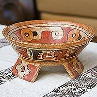 Ceramic centerpiece, 'Maya Offering' - Unique Archaeological Ceramic Bowl Centerpiece