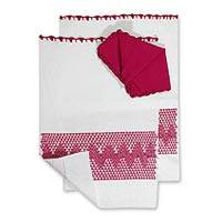 Placemats and napkins, 'Strawberry' (set for 2) - Placemats and napkins (Set for 2)