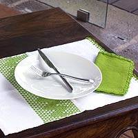 Placemats and napkins, 'Hot Lime' (set for 2) - Placemats and napkins (Set for 2)
