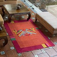 Wool rug, 'Maya Bird at Sunset' - Hand Crafted Guatemalan Animal Themed Wool Rug