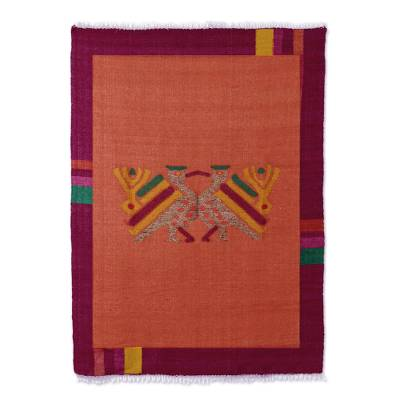 Wool rug, 'Maya Bird at Sunset' - Bird Wool Area Rug from Guatemala