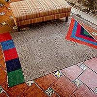 Wool rug, 'Volcano in Color' - Geometric Wool Area Rug from Central America