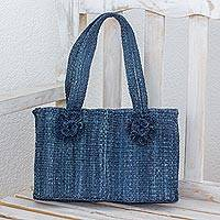 Maguey shoulder bag, 'Blue Maya Rose' - Navy Blue Handwoven Natural Fiber Bag