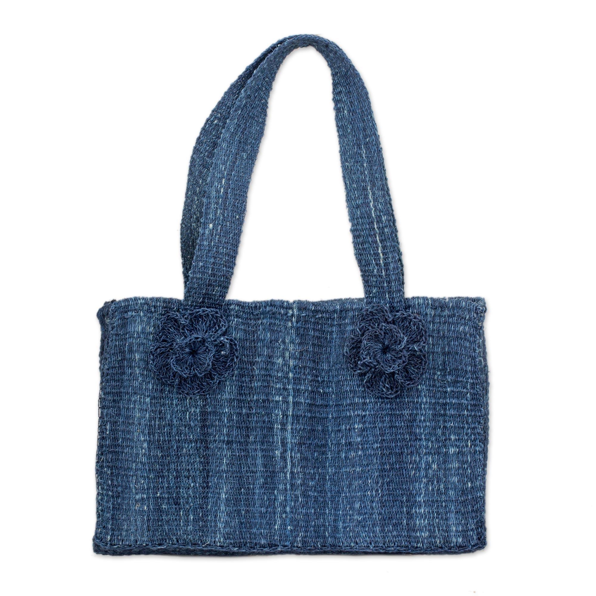 Novica Maguey shoulder bag, Blue Maya Rose - Natural Fiber Shoulder Bag