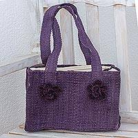 Maguey shoulder bag, 'Purple Maya Rose' - Maguey shoulder bag