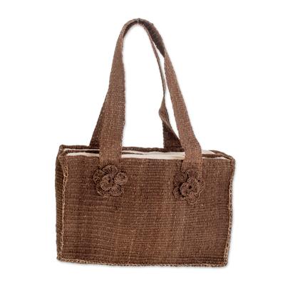 Maguey shoulder bag, 'Brown Maya Rose' - Floral Natural fibre Shoulder Bag