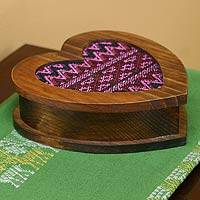 Wood and cotton jewelry box, 'Heart of Rose' - Collectible Heart Shaped Wood Jewelry Box