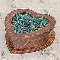 Wood and cotton jewelry box, 'Heart of Blue' - Artisan Crafted Heart Shaped Wood Jewelry Box