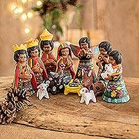 Ceramic nativity scene, 'Totonicapan' (set of 12)