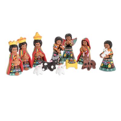 Unique Nativity Scene Ceramic Sculpture (Set of 12)