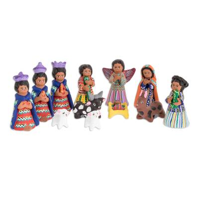 Ceramic nativity scene, 'Chichicastenango' (set of 12) - Unique Ceramic Nativity Scene Sculpture (Set of 12)