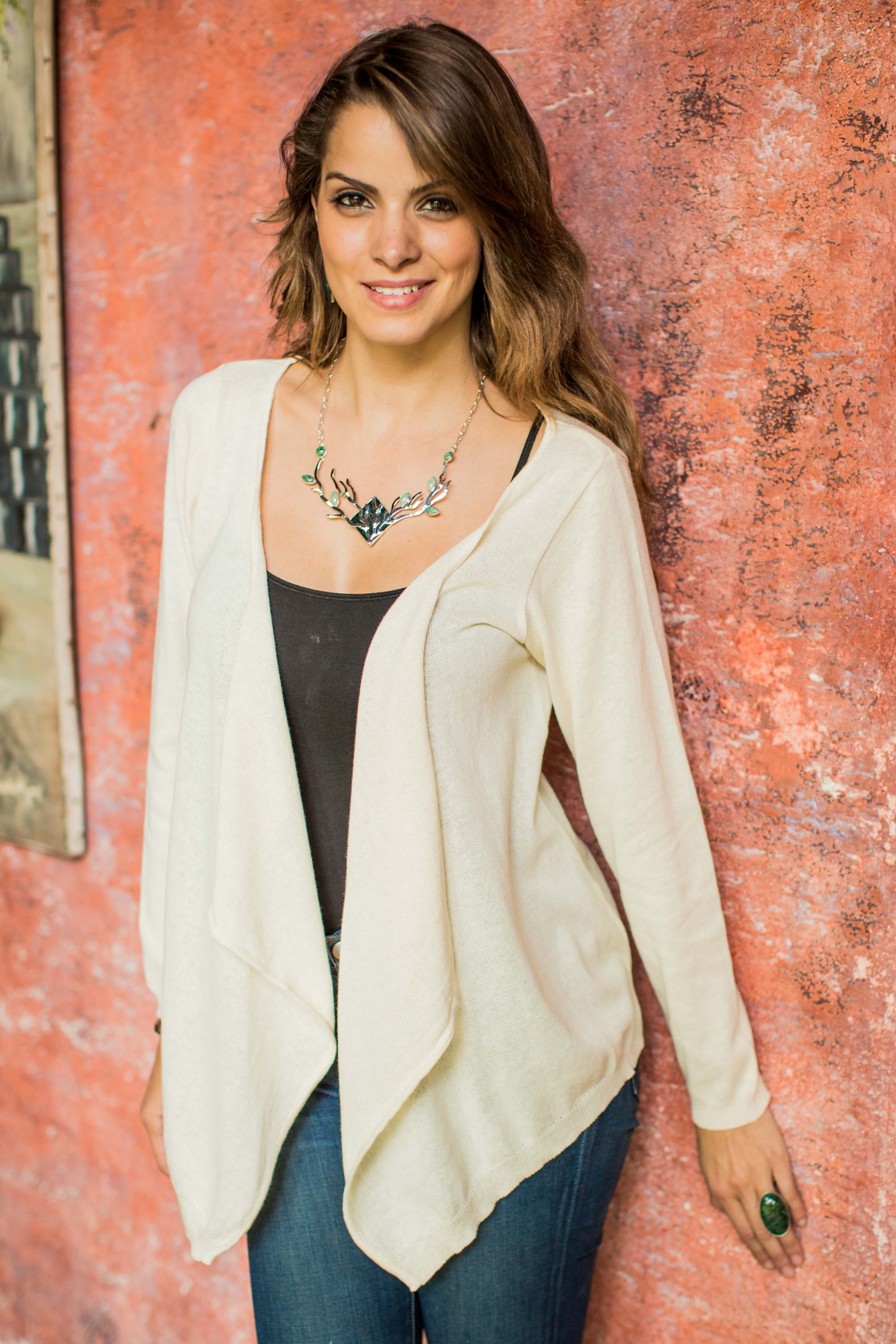 Cotton wrap sweater - Versatility | NOVICA