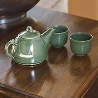 Ceramic tea set, 'Maya Jade' (set for 2) - Hand Crafted Ceramic Tea Set for 2