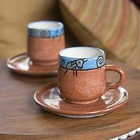Ceramic cups and saucers, 'Day in El Salvador' (set for 2) - Ceramic Cups and Saucers (Set of 2)