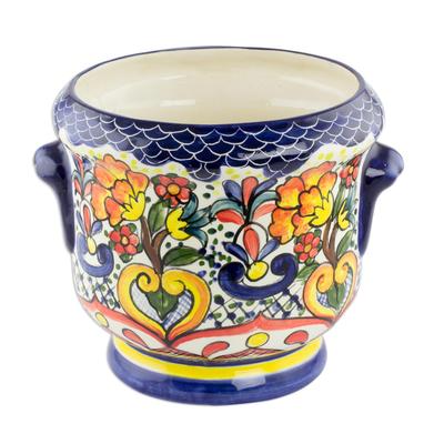 Ceramic flower pot, 'Blue Garden' - Ceramic flower pot