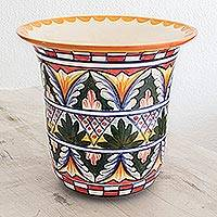Ceramic flower pot, 'World of Nature' - Ceramic flower pot