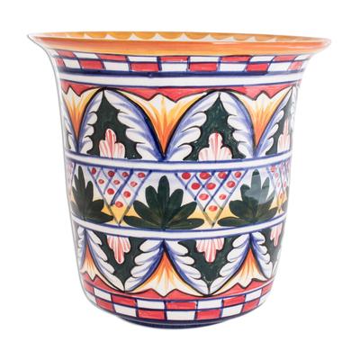 Ceramic flower pot, 'World of Nature' - Ceramic flower pot