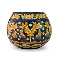 Ceramic flower pot, 'Golden Blossoms' - Ceramic flower pot