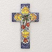 Ceramic cross, 'Floral Harmony' - Fair Trade Floral Ceramic Cross