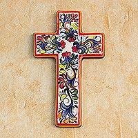 Ceramic cross, 'Floral Faith'