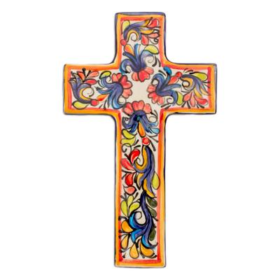 Ceramic cross, 'Floral Faith' - Ceramic cross