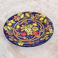 Ceramic serving plate, 'Celestial Fruit' - Ceramic serving plate