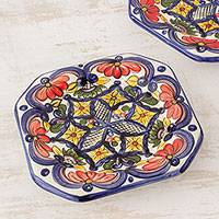 Ceramic salad plates, 'Floral Octagons' (set of 4)