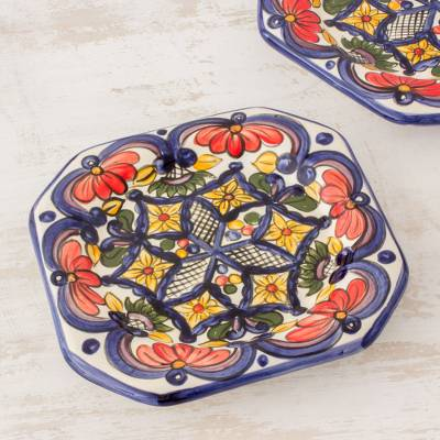 Ceramic salad plates, 'Floral Octagons' (set of 4) - Handmade Talavera Style Ceramic Dessert Plates (Set of 4)