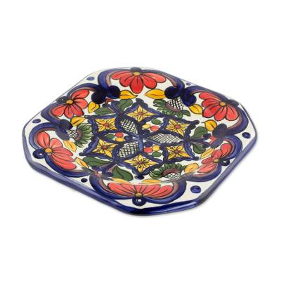 Ceramic salad plates, 'Floral Octagons' (set of 4) - Handmade Talavera Style Ceramic Dessert Plates (Set of 4)