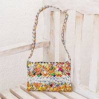 Recycled metalized wrapper shoulder bag, 'Eco-Fun' - Central American Recycled Wrapper Shoulder Bag