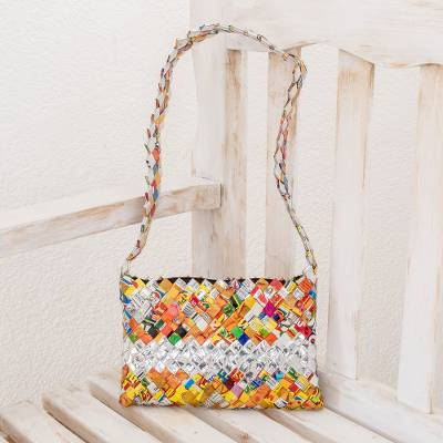 Recycled metalized wrapper shoulder bag, Eco-Fun