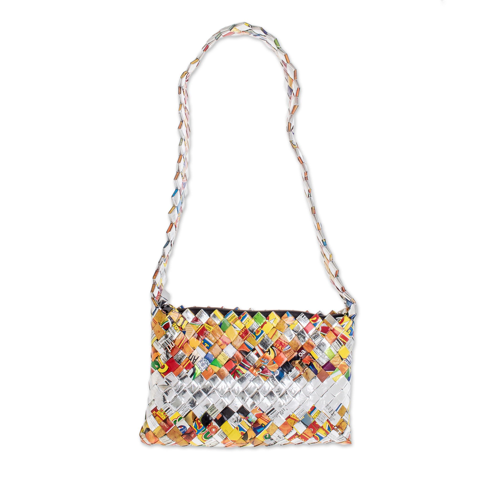 Novica Recycled metalized wrapper shoulder bag, Celebration - Unique Recycled Shoulder Bag