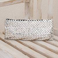 Recycled metalized wrapper clutch bag, 'Eco-Splendor' - Handmade Recycled Wrapper Clutch Handbag
