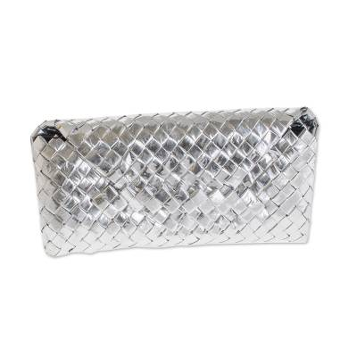 Recycled metalized wrapper clutch bag, 'Eco-Savvy' - Recycled metalized wrapper clutch bag