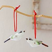 Ceramic ornaments, 'Reed Bunting' (pair) - Hand Crafted Christmas Ceramic Bird Ornament (Pair)